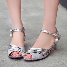 Women's Kitten Heels Open Toes sandals Wedding Dress Shoes Party Buckle Strap