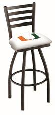 Miami Hurricanes HBS White Ladder Back High Top Swivel Bar Stool Seat Chair