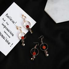 Gold Plated Red/Black Natural Sandstone Large Circle Hoop Dangly Hook Earrings