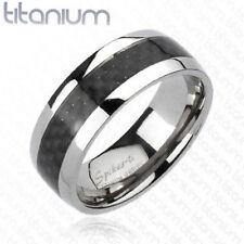 Carbon Fiber Inlay Band Ring Solid Titanium $10.95