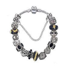 NEW Silver Love Star Black Gold Fleck Murano Beads European Charm Bracelet