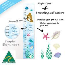 Matching Set Mermaid Under Sea Fabric Height Growth Chart + Vinyl Wall Stickers