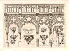 1857 Grande Stampa ARCHITETTURA Oberwesel Cattedrale Medievale arte Gotica Medievale