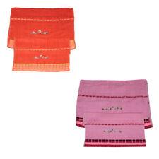 Set Asciugamani Spugna con RICAMO FIORE 1 + 1 Viso Ospite  Cotone