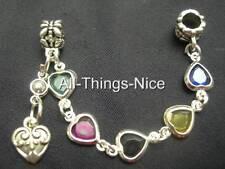 5mm Hole HEART Bead Charm European Bracelet Decorative Safety Chain Jewellery