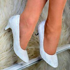 c9f0a58a31e1 Ladies Bridal Low kitten heel Lace Shoe Womens Wedding Shoes Full toe Pumps  Size