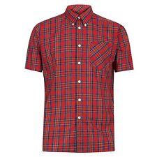 Hombre Merc Londres con botones Camisa - Mack CUADROS ROJOS