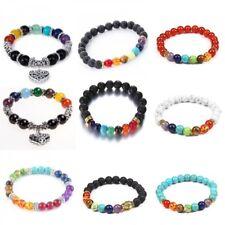 Womens 7 Chakra Lava Natural Stone Energy Reiki Balance Beads Bracelet Bangle