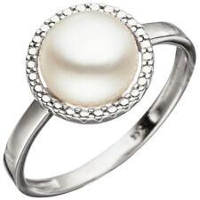 anello donna con Acqua dolce Perla 333 Oro Oro bianco Anello di perline