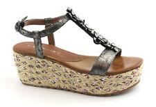 CAFè NOIR HA925 antracite sandali donna zeppa cinturino fasce fiori