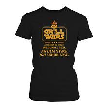 GR!LL WARS Steak Damen T-Shirt Fun Shirt Spruch Grill Grillen Geschenk Idee Neu