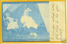 Real Photo Postcard RPPC - Cyanotype Girl Cloth Doll