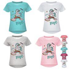 Mädchen Glitzer T-Shirt mit Einhorn Motiv  Bluse mit kurz Arm Grau,Türkis, Weiß