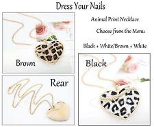 Animal Heart Necklace - Leopard Print Pendant Costume Jewellery - Vintage UK