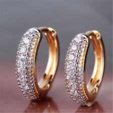 Bague Vintage Hoop 18K Gold Filled pavé de diamants femmes boucles d'oreilles
