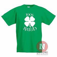 100 por ciento Irlandés Niños Camiseta Celta trébol 4 Hojas infantil Irlanda