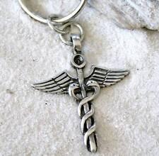 CADUCEUS MEDICAL NURSE DOCTOR Pewter KEYCHAIN Key Ring