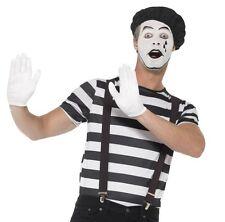 Mens Mime Artist Fancy Dress Costume Set Top Beret Gloves Braces & Make Up New