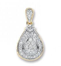 9CT HALLMARKED YELLOW GOLD 0.27CT G/H SI1 DIAMOND TEARDROP PENDANT  (CHAIN OPT)