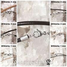 Catene in pelle Ø 1,2,3,4 mm con chiusura in acciaio inox, lunghezza di 35-100 cm selezionabile
