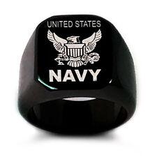 U.S. Navy Logo Ring, Personalize Custom Engrave Stainless Steel Ring, Black Ring