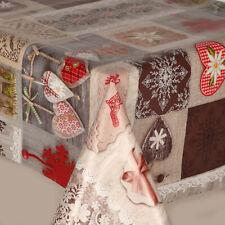CHRISTMAS PATCHWORK BEIGE LILIES HEARTS LACE PRINT FLORAL PVC VINYL TABLE CLOTH