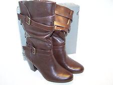 "APT. 9 TRIA Womens Shoes Fashion Boots Brown Mid Calf NEW High Heels 3"""