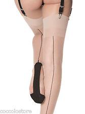 VENEZIANA Roberta Stockings Garters Veiled Nude Black Riga Heel Cuban Heel