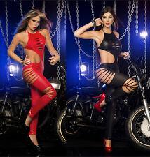 Ladies Espiral Slashed Halter Neck Cut Out Jumpsuit Clubbing Catsuit - UK 6 - 16