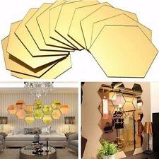12Pcs Geometric Hexagon 3D Art Mirror Wall Sticker Decal Home DIY Decor