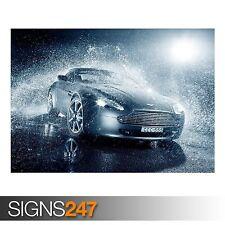 ASTON MARTIN V8 RAIN (AA523) CAR POSTER - Photo Poster Print Art A0 A1 A2 A3 A4