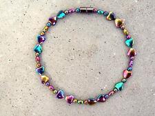ALL RAINBOW Women's 100% Magnetic Hematite Powerful BRACELET ANKLET DBL HEART
