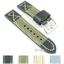 StrapsCo 5mm Thick Vintage Canvas & Leather Denim Watch Band Strap fits Panerai