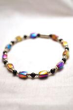 LADIES 7.25 OR 8 INCH MAGNETIC THERAPY BRACELET: Rainbow Hematite & Black Beads