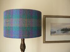Handmade Harris Tweed Drum Lampshade in purple and green Tartan