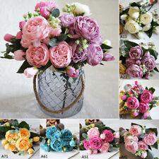 AU 5 Heads Artificial Fake Silk Peony Rose Flower Bouquets Bridal Wedding Decor