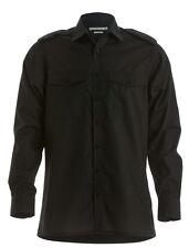 Mens Kustom Kit Black Shirt Long Sleeve Tailored Work Pilot Shirt