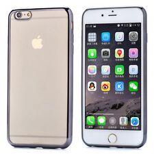 iPHONE 6 6S PREMIUM ULTRA SLIM SILVER TRANSPARENT SILICONE GEL TPU CASE COVER
