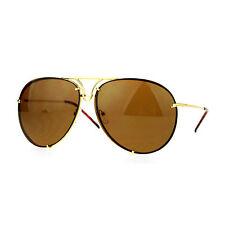 Oversized Round Aviator Sunglasses Metal Rims Behind Lens Spring Hinge