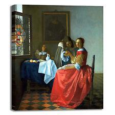 Vermeer ragazza con bicchiere quadro stampa tela dipinto telaio arredo casa