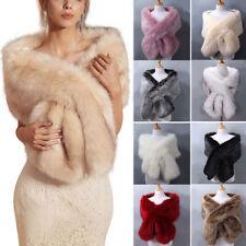 Fall Winter Women Party Faux Fur Warp Dress Shawl Coat Ponchos Bridal Wedding