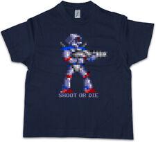 SHOOT OR DIE Kinder Jungen T-Shirt Turrican Game Sprite Amiga Figur Robot