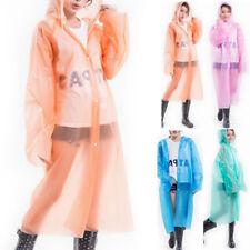 Women Festival Waterproof Poncho Sleeve Rain Transparent Hooded Uk Long Coat