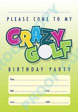 CRAZY GOLF kids children birthday party INVITATIONS Pack of 10 No67
