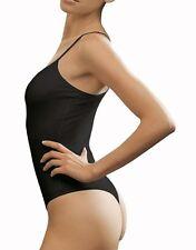 WOMENS SLEEVELESS BLACK THONG * THIN STRAP STRETCH BODYSUIT LEOTARD 8-16
