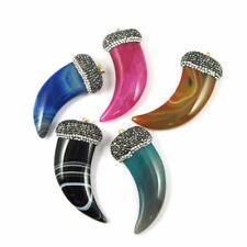 Agate Horn Pave Pendant, Large Tusk Shape Pendant, Zircon Pave Necklace Pendant
