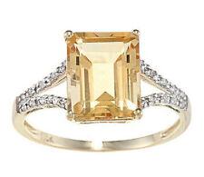 10k Yellow Gold Octagon Citrine and Diamond Ring (1/8 TDW)