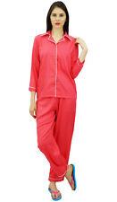 Bimba Button-Down-Shirt mit elastischen Taille Pyjama Hose 2 Stück Full Sleeve