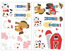 20-tlg Bauernhof Set Wandtattoo Schwein Trecker Kinder Aufkleber Kinderzimmer
