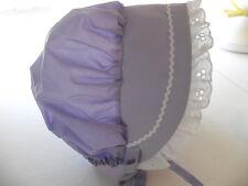 Purple Lavender Baby Sunhat  Bonnet  wlace trim hat sz nb,3,6,9,12,18 mo